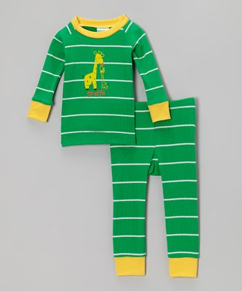 Green & Yellow Stripe Giraffe Pajama Set - Boys