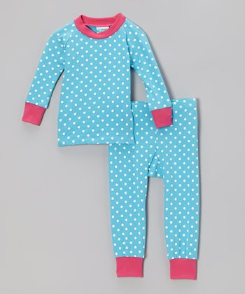Turquoise & Pink Polka Dot Pajama Set - Infant