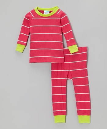 Lime & Pink Stripe Pajama Set - Infant & Toddler