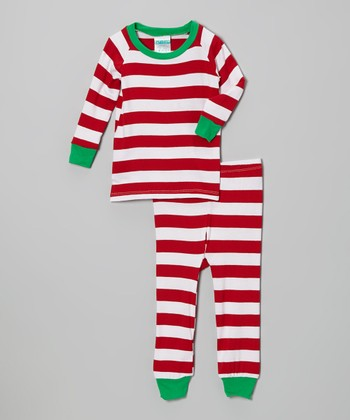 Red & Green Stripe Pajama Set - Infant, Toddler & Kids