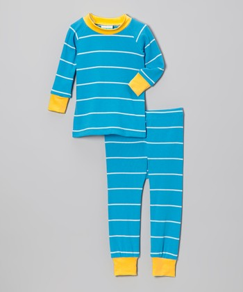 Turquoise & Yellow Stripe Pajama Set - Infant & Toddler