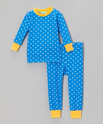 Blue & Yellow Polka Dot Pajama Set - Infant, Toddler & Boys