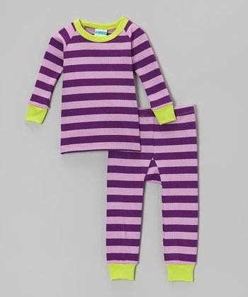 Purple & Lime Stripe Pajama Set - Infant & Toddler