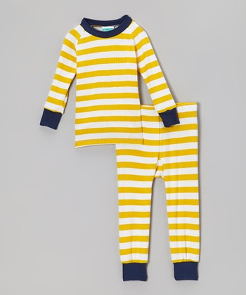 Yellow & Navy Stripe Pajama Set - Infant & Toddler