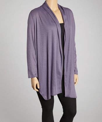 Purple Long Open Cardigan - Plus
