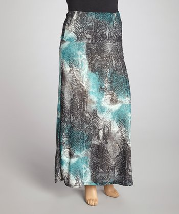 Blue Snake Maxi Skirt - Plus