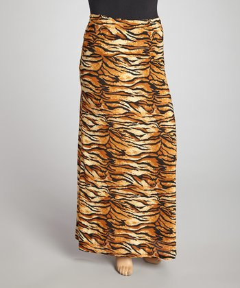 Brown Tiger Maxi Skirt - Plus