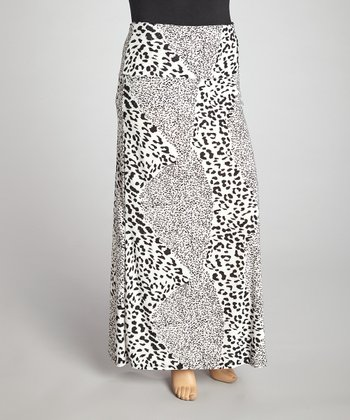 White Leopard Stripe Maxi Skirt - Plus