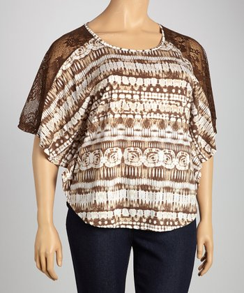 Brown Tie-Dye Crochet Cape-Sleeve Top - Plus