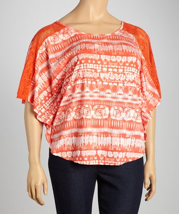 Orange Tie-Dye Crochet Cape-Sleeve Top - Plus