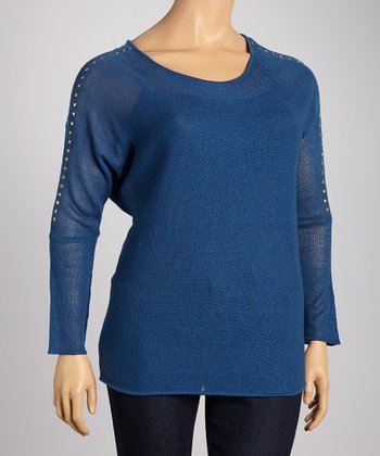 Blue Boat Neck Dolman Top - Plus