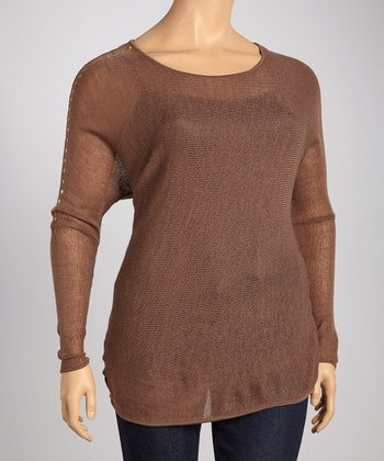 Frozen Driftwood Boat Neck Dolman Top - Plus