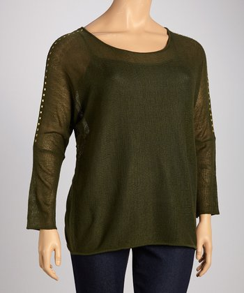 Dark Oregano Boat Neck Dolman Top - Plus
