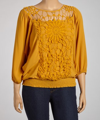 Mustard Crocheted Dolman Top - Plus