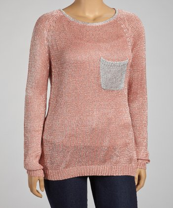 Coral Pocket Sweater - Plus