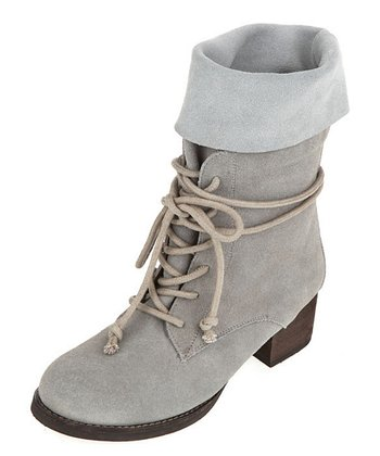 Gray Lacey Fold-Over Boot