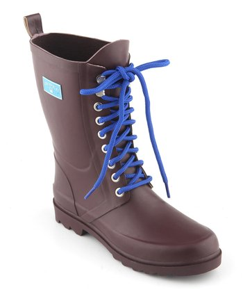Brown Lace-Up Rain Boot - Women