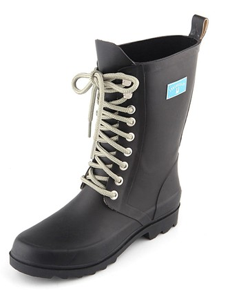 Black Lace-Up Rain Boot - Women