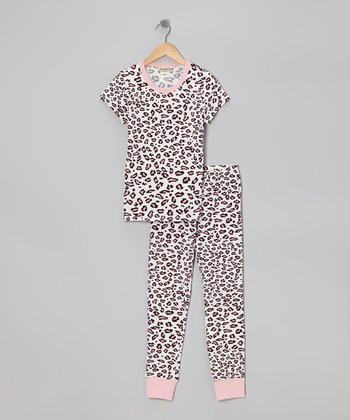Pink Spot On Short-Sleeve Pajama Set - Girls