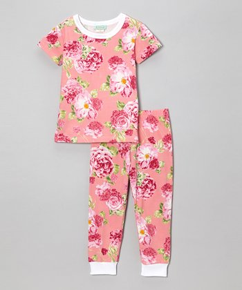 Coral Cabbage Rose Short-Sleeve Pajama Set - Toddler & Girls