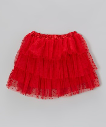 Red Polka Dot Tulle Skirt
