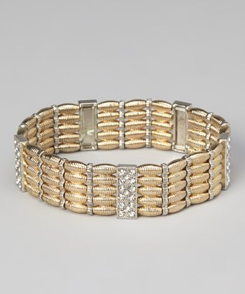 Gold & Silver Weave Stretch Bracelet