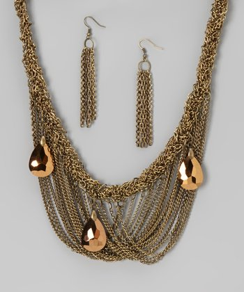 Antique Gold Italian Drape Necklace & Earrings