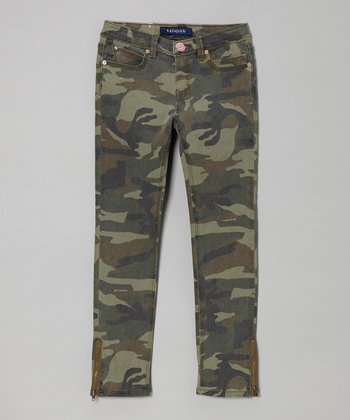 Green Camo Army Mary Jane Skinny Jeans - Girls