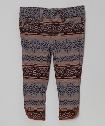 Dark Ash Aztec Leggings - Infant
