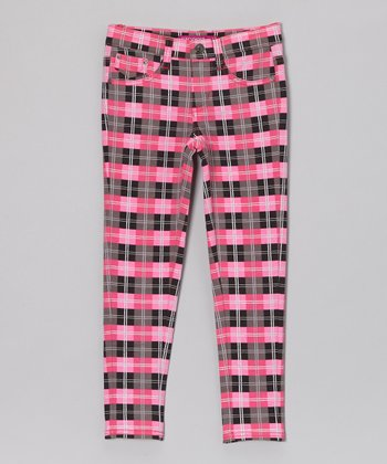Black & Fuchsia Way Out Leggings - Girls