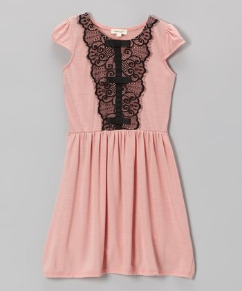 Blush Lace Ruffle Dress