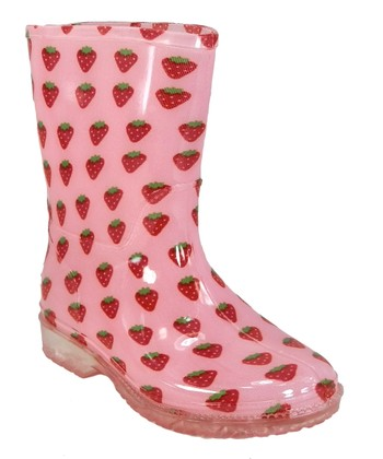Pink Strawberry Rain Boot