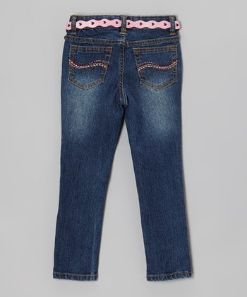 Dark Medium Stone Heart & Flower Skinny Jeans