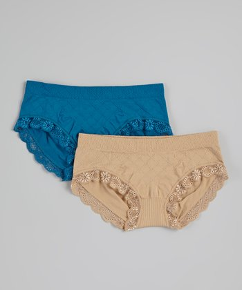 Teal & Mustard Lace Seamless Hipster Set