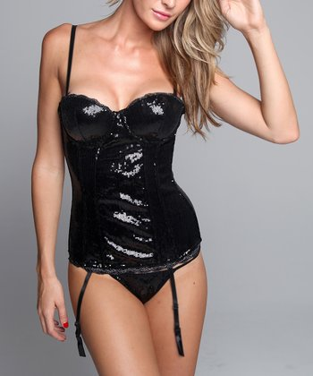 Black Sequin Garter Bustier & G-String - Women