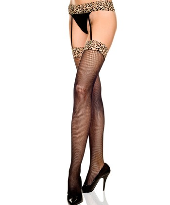 Black & Brown Leopard Garter Belt Stockings - Women