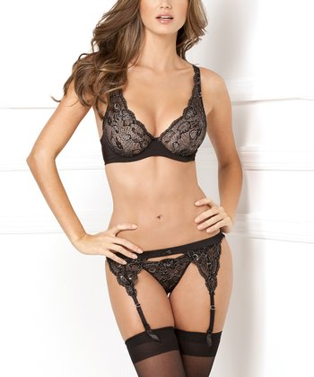 Black Lux Lace Garter Belt Set - Women