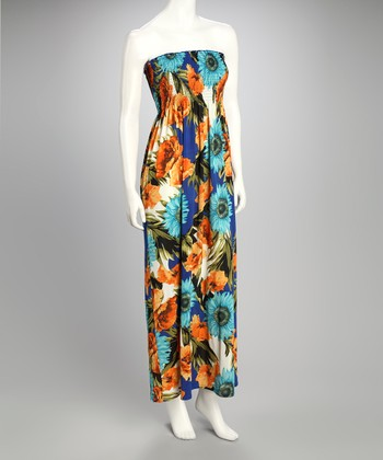 Royal Floral Shirred Maxi Dress