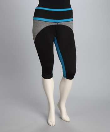 Blue & Black Plus-Size Capri Pants