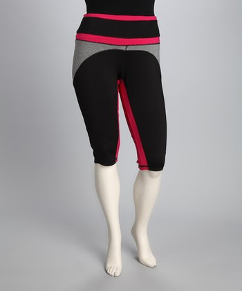 Pink & Black Plus-Size Capri Pants
