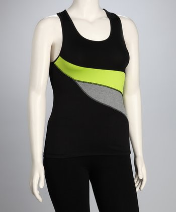 Green & Black Plus-Size Racerback Tank