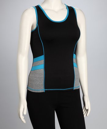 Blue Double Stripe Plus-Size Tank