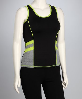 Green Double Stripe Plus-Size Tank