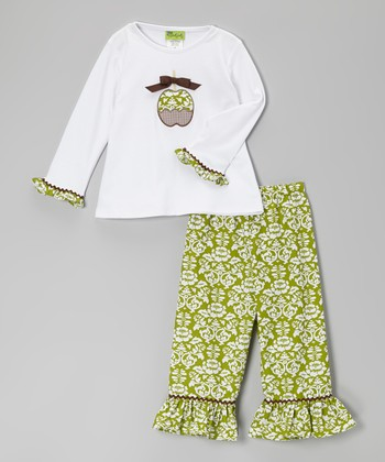 White Apple Shirt & Green Damask Ruffle Pants - Toddler & Girls