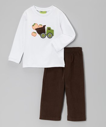 White Pumpkin Truck Tee & Brown Corduroy Pants - Toddler & Boys