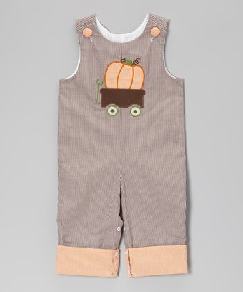Brown Gingham Pumpkin Wagon Playsuit - Infant & Toddler
