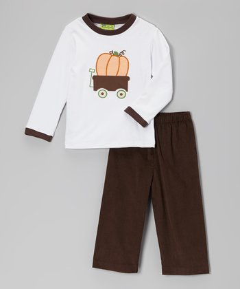 White Pumpkin Wagon Tee & Brown Corduroy Pants - Infant, Toddler & Boys
