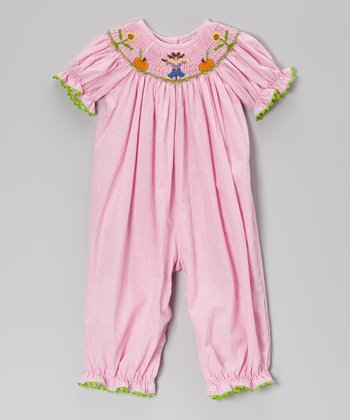 Pink Gingham Smocked Scarecrow Bubble Playsuit - Infant & Toddler