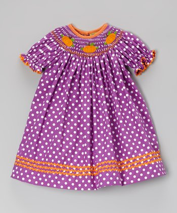 Purple Smocked Pumpkin Bishop Dress - Infant, Toddler & Girls