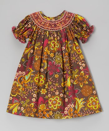 Brown Flower Dusk Smocked Bishop Dress - Infant, Toddler & Girls